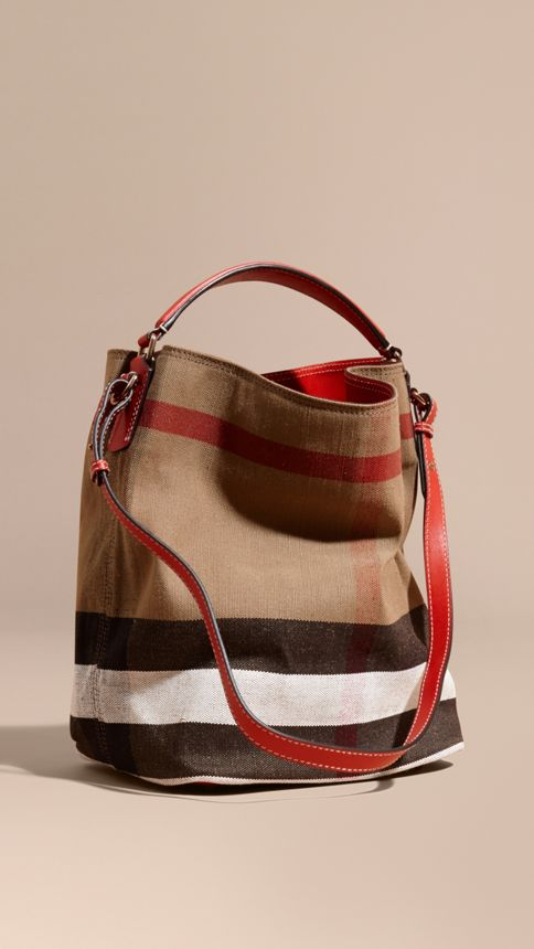Cadmium red The Medium Ashby in Canvas Check and Leather Cadmium Red - Image 1