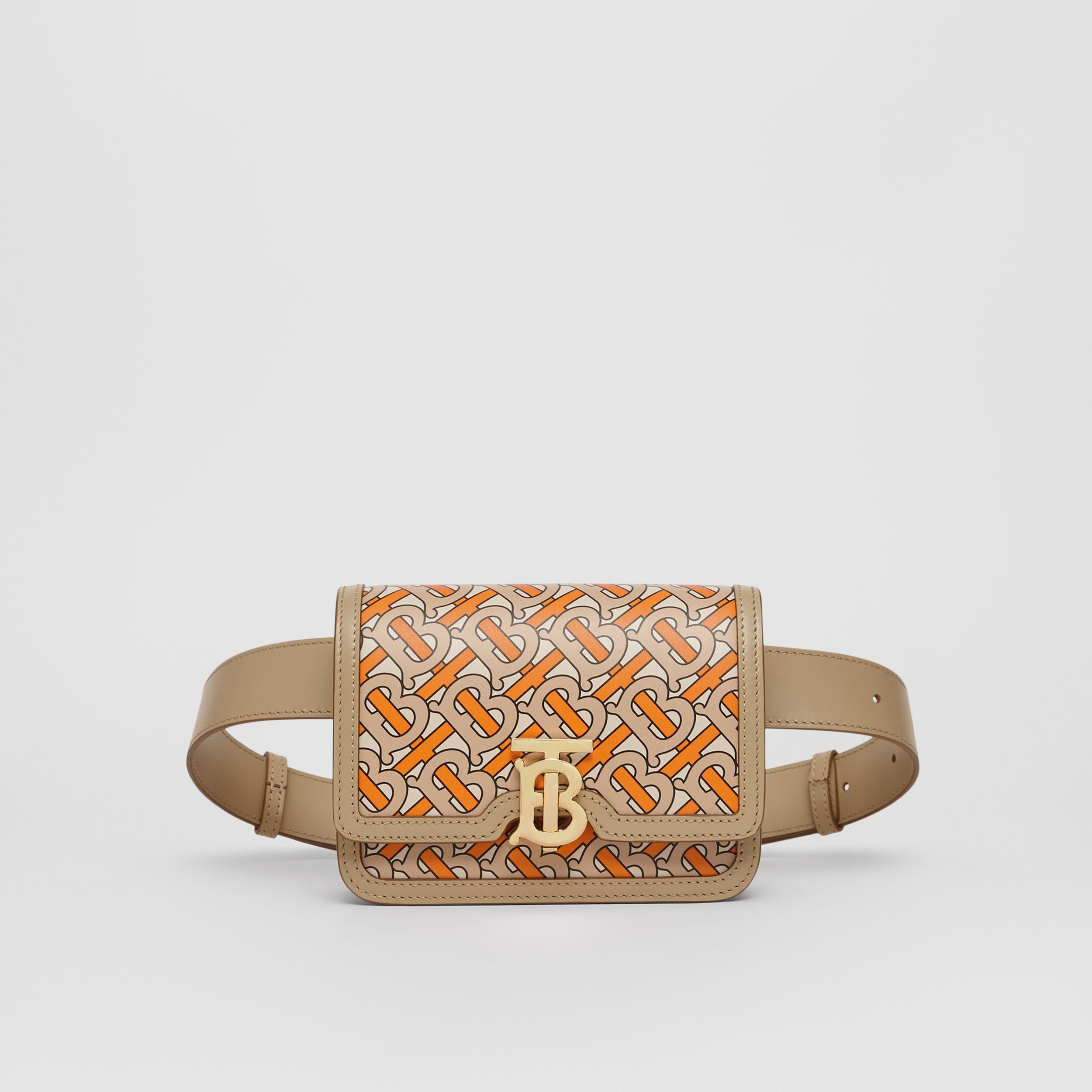 Belted Monogram Print Leather TB Bag in Bright Orange - Women | Burberry - 1