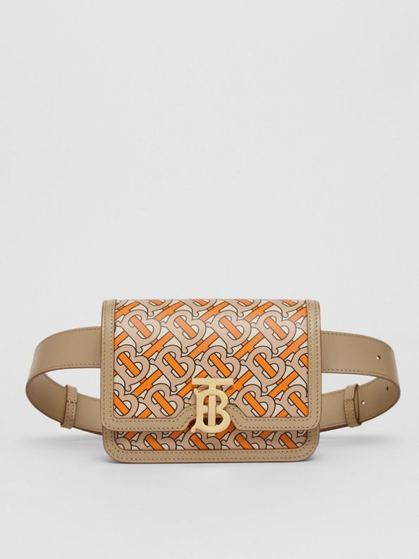 Belted Monogram Print Leather TB Bag in Bright Orange