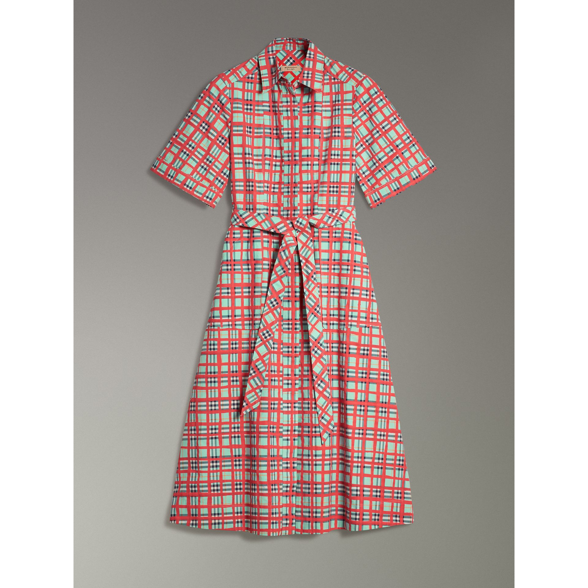 Painted Check Cotton Shirt Dress in Bright Aqua - Women | Burberry - gallery image 3