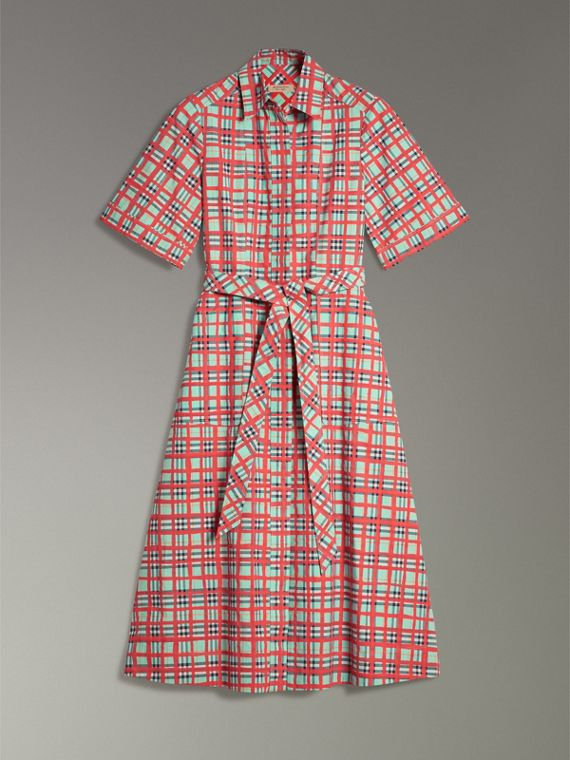 Painted Check Cotton Shirt Dress in Bright Aqua - Women | Burberry - cell image 3