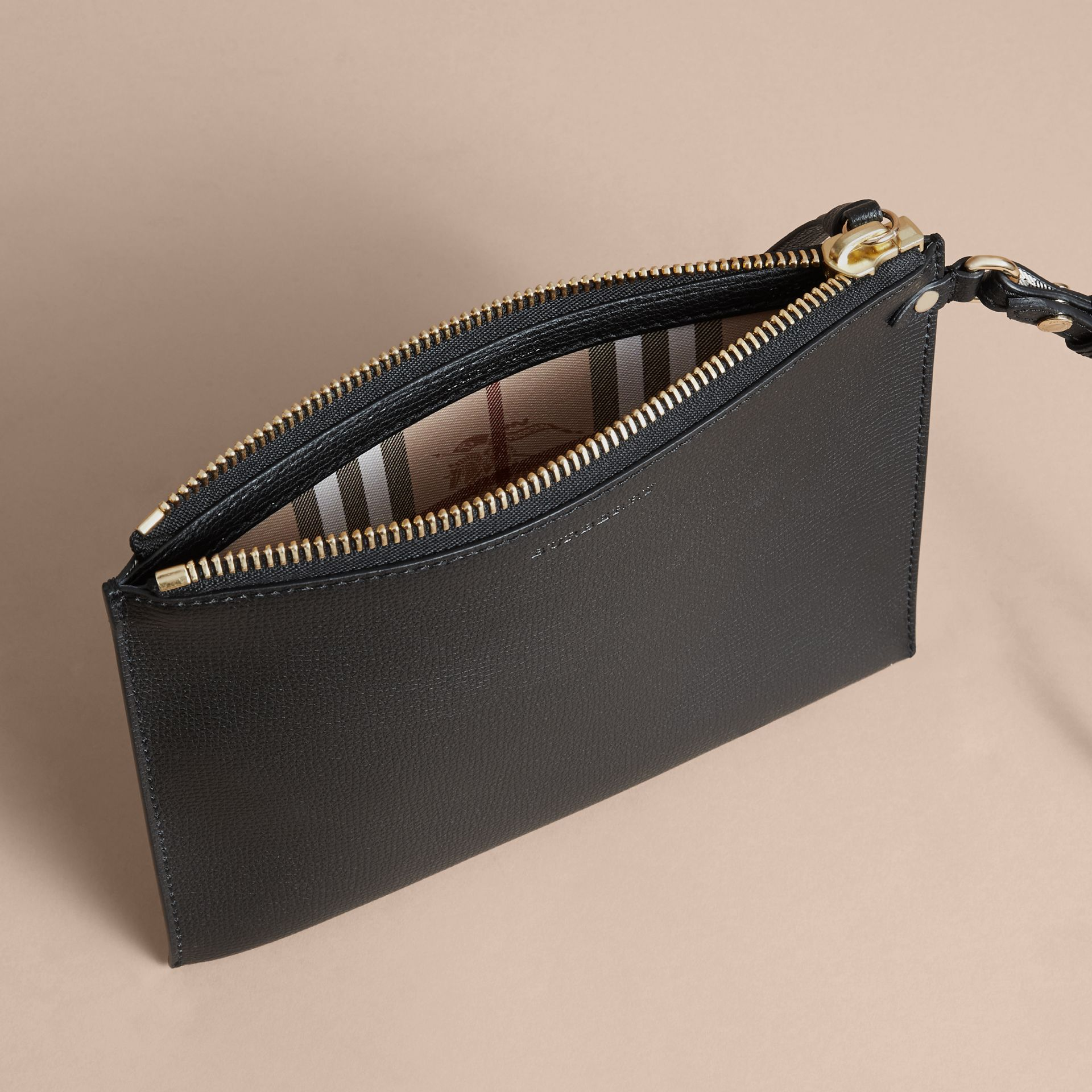 Haymarket Check and Leather Pouch in Black - Women | Burberry Australia - gallery image 5