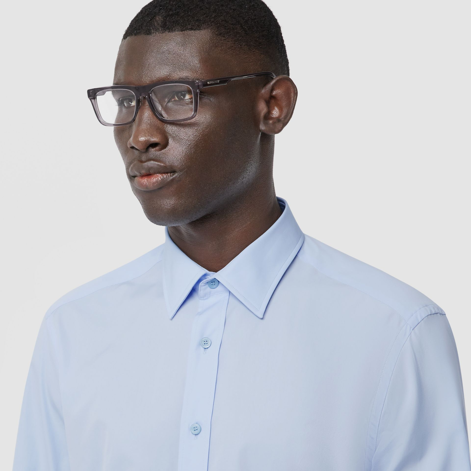 Classic Fit Monogram Motif Cotton Poplin Shirt in Pale Blue - Men | Burberry - gallery image 1