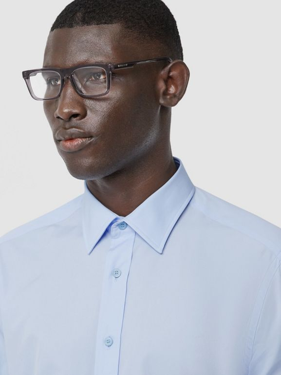 Classic Fit Monogram Motif Cotton Poplin Shirt in Pale Blue - Men | Burberry Singapore - cell image 1