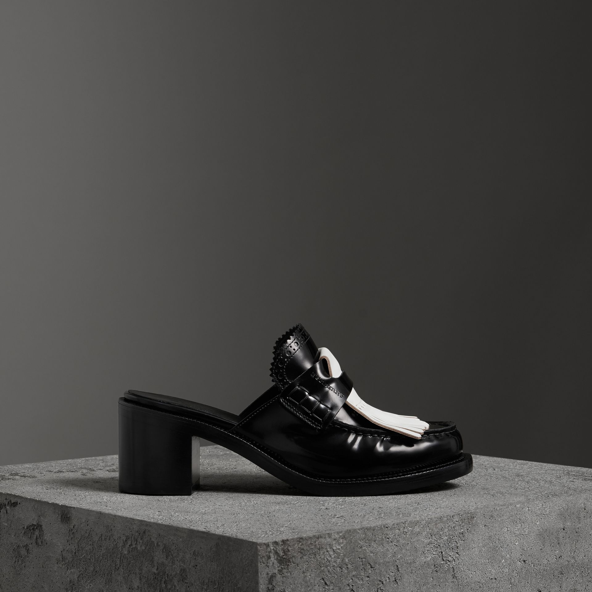 Contrast Kiltie Fringe Leather Block-heel Mules in Black - Women | Burberry - gallery image 0