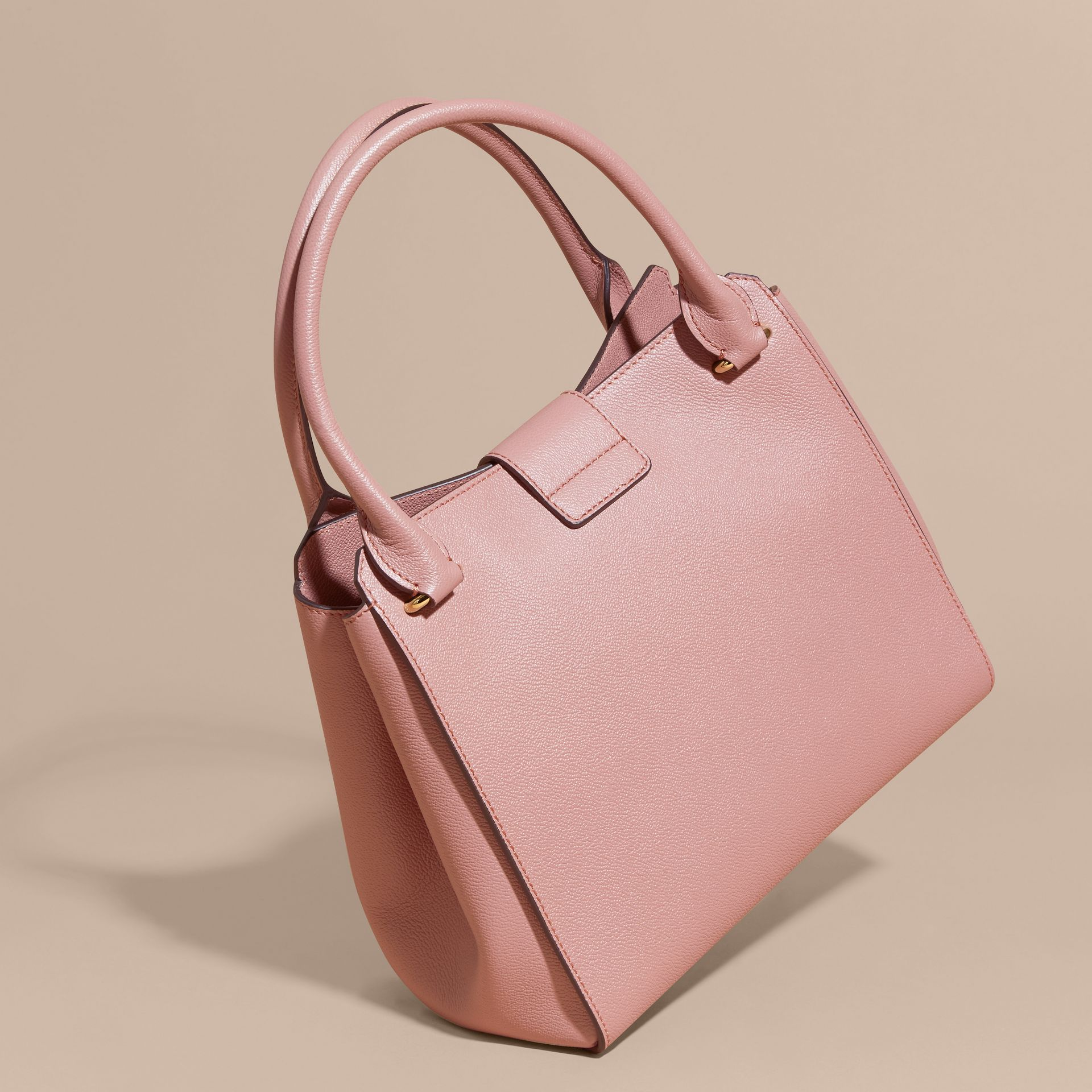 The Medium Buckle Tote in Grainy Leather Dusty Pink - gallery image 5