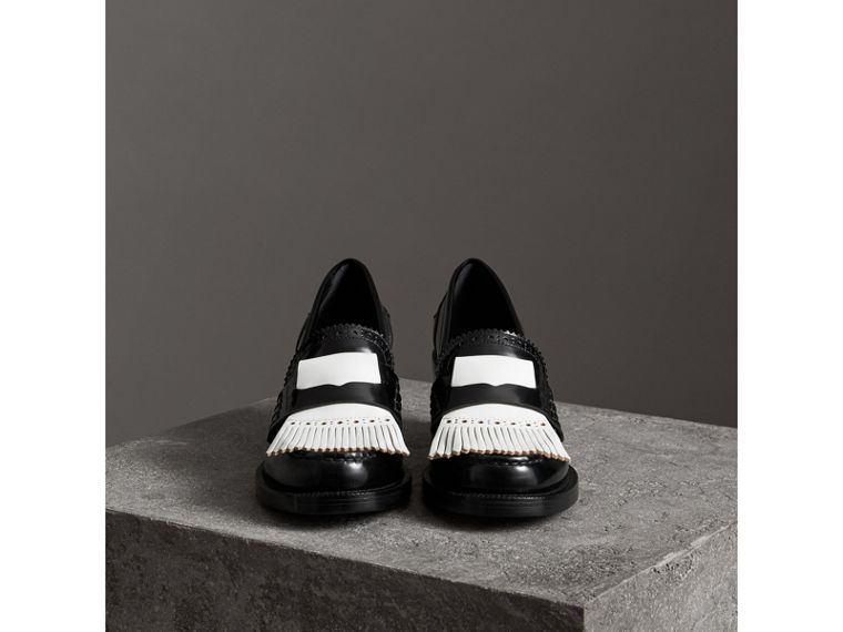 Contrast Kiltie Fringe Leather Block-heel Loafers in Black - Women | Burberry Hong Kong - cell image 4