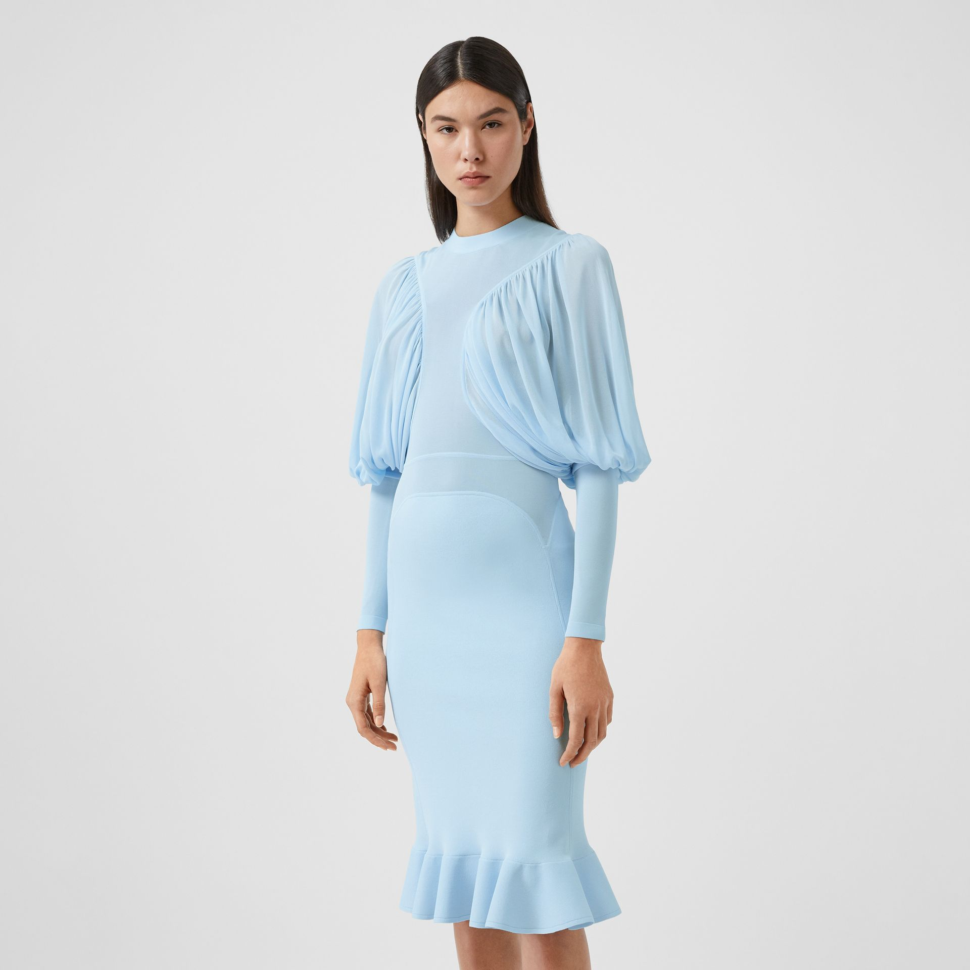 Puff-sleeve Jersey Dress in Pale Blue - Women | Burberry United Kingdom - gallery image 5