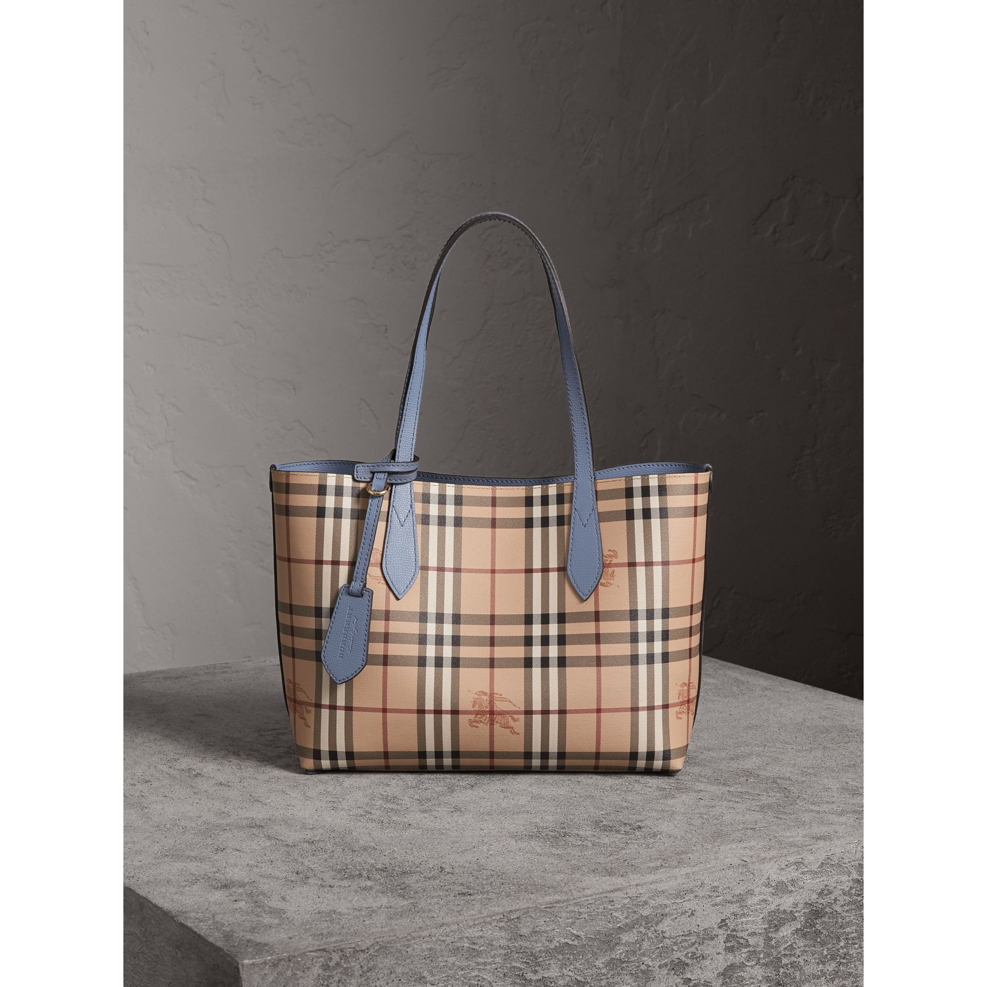 The Small Reversible Tote in Haymarket Check and Leather in Slate Blue - Women | Burberry Canada - gallery image 7