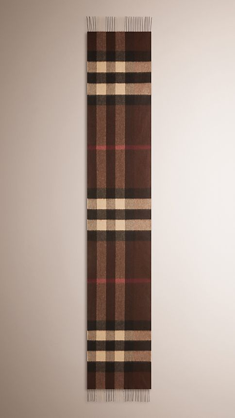 Dark chestnut brown check Giant Exploded Check Cashmere Scarf - Image 4