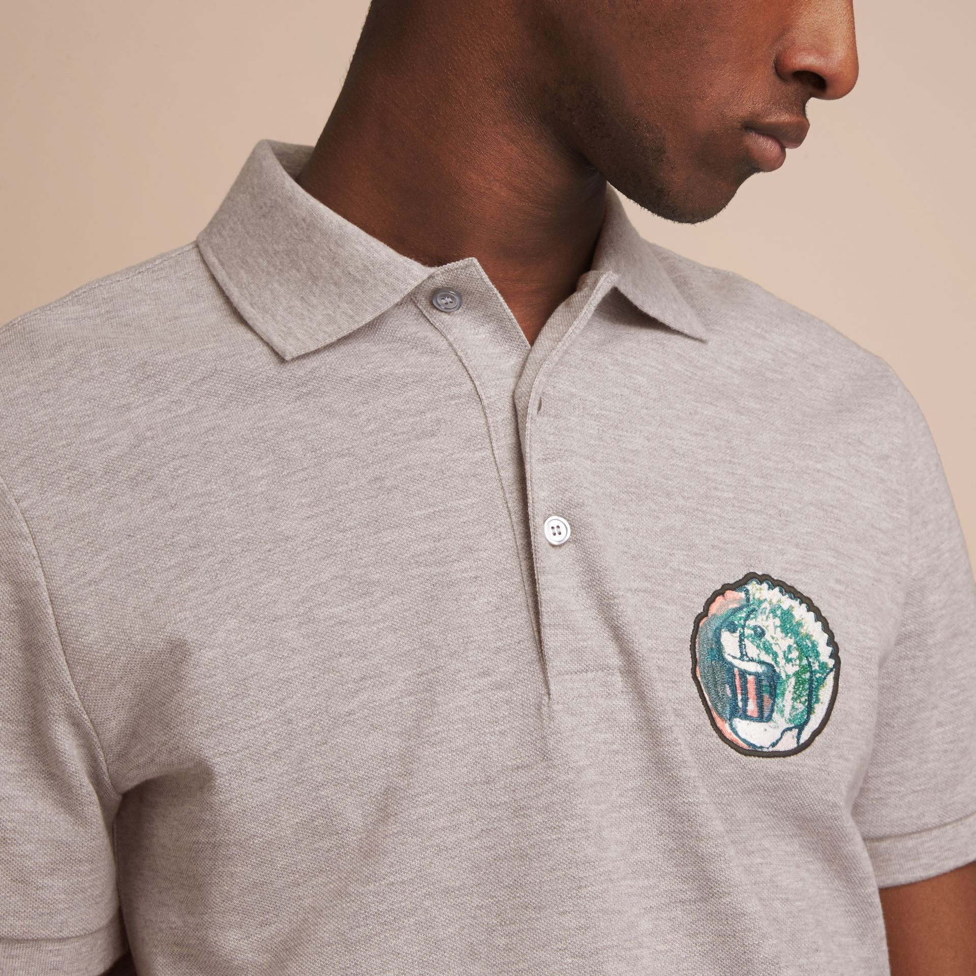 Pallas Heads Appliqué Cotton Polo Shirt in Pale Grey Melange - gallery image 5