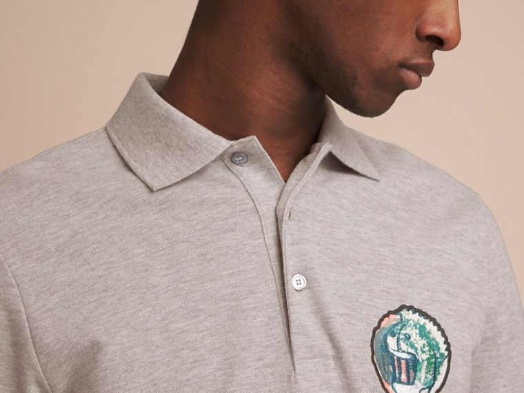 Pallas Heads Appliqué Cotton Polo Shirt in Pale Grey Melange - cell image 4