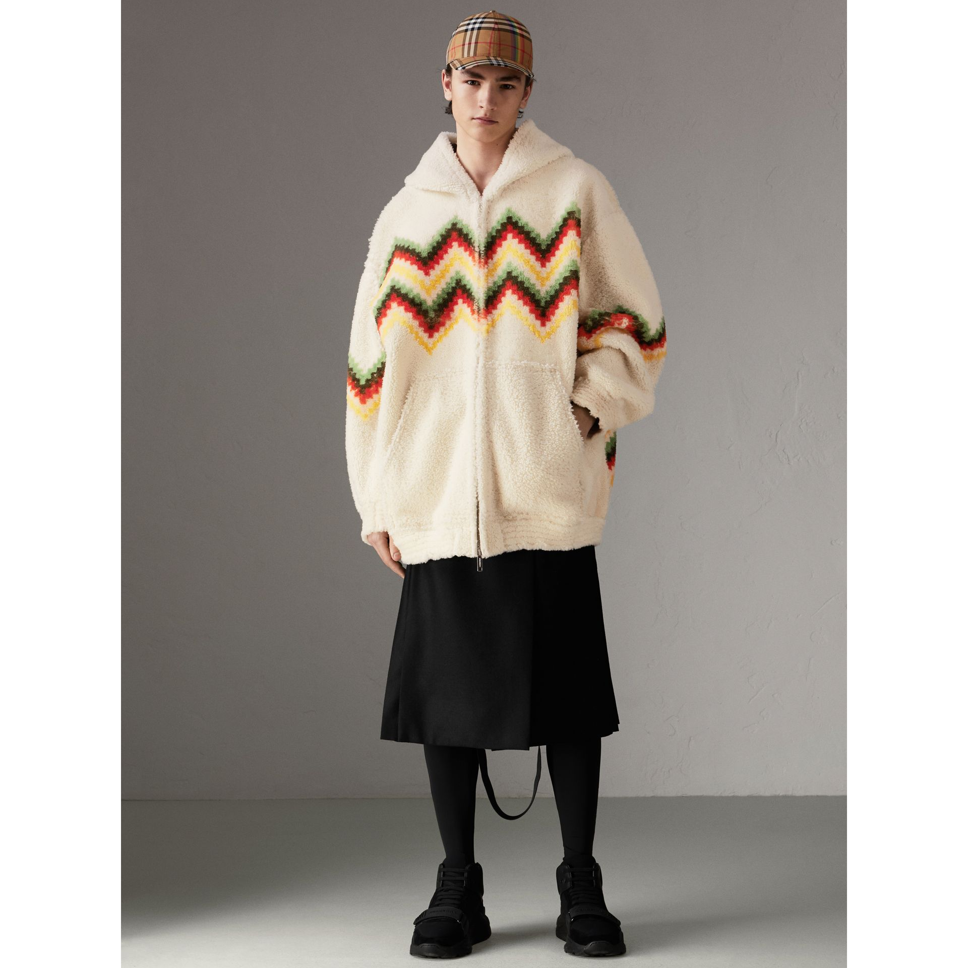 Chevron Intarsia Shearling Hoodie in Off White | Burberry - gallery image 4