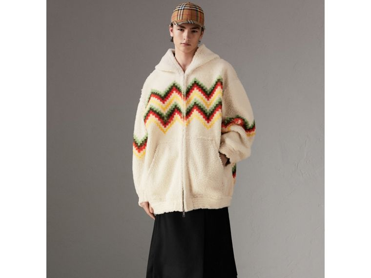 Chevron Intarsia Shearling Hoodie in Off White | Burberry - cell image 4