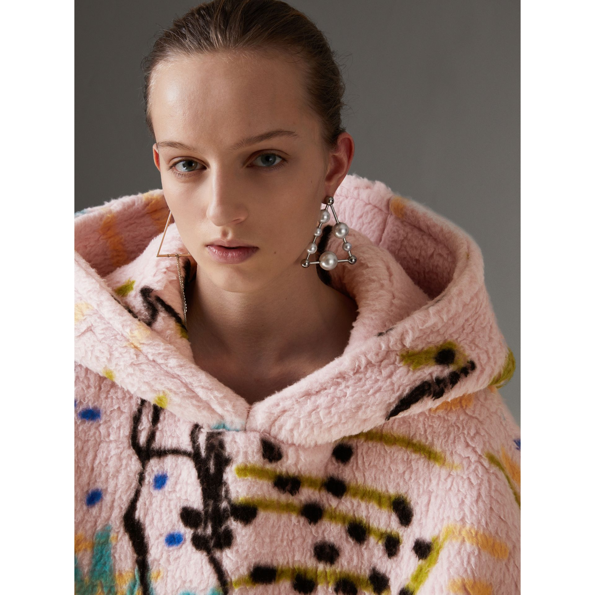 Graffiti Print Cashmere Silk Fleece Hoodie in Pale Rose - Women | Burberry Australia - gallery image 1