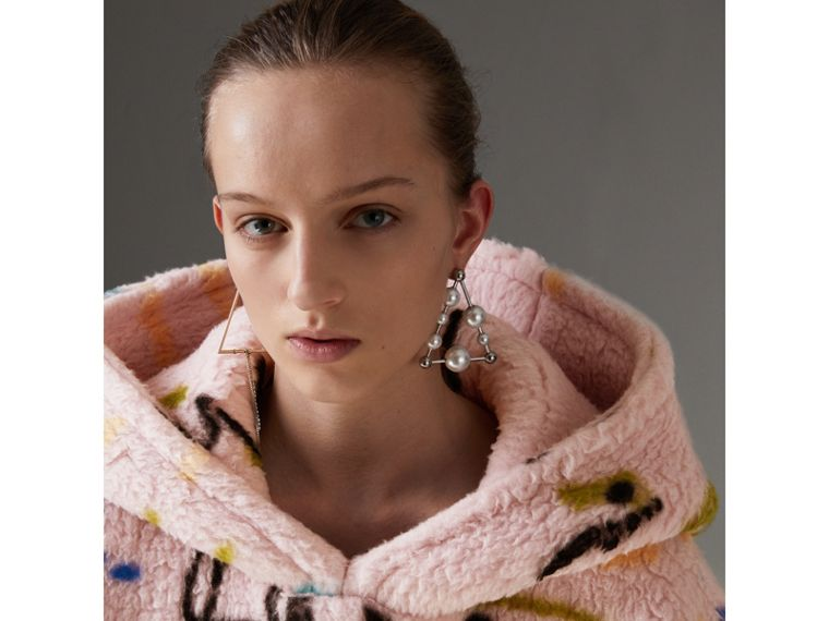 Graffiti Print Cashmere Silk Fleece Hoodie in Pale Rose - Women | Burberry - cell image 1