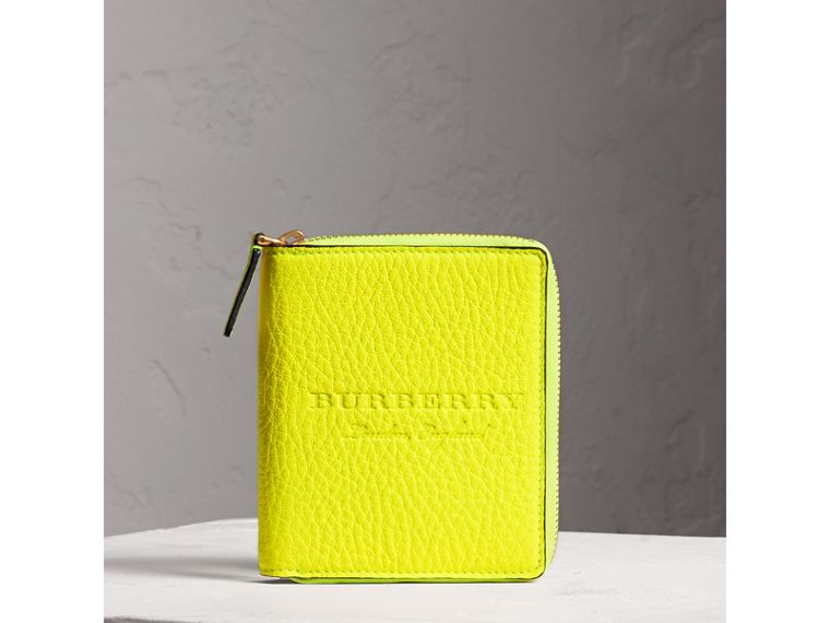 Embossed Grainy Leather Ziparound A6 Notebook Case in Bright Yellow | Burberry - cell image 4