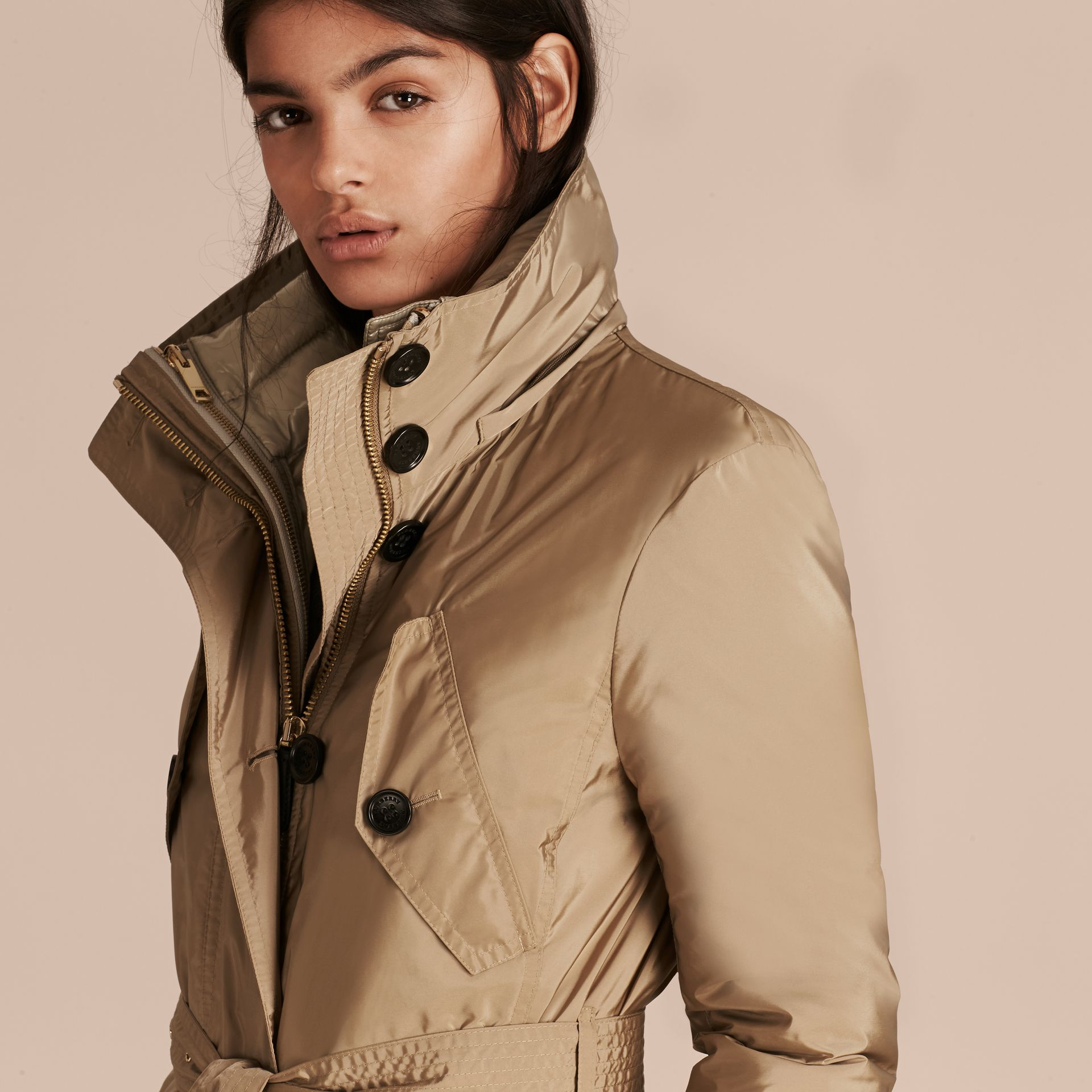 Fur-trimmed Parka with Detachable Down-filled Jacket in Sisal - gallery image 5