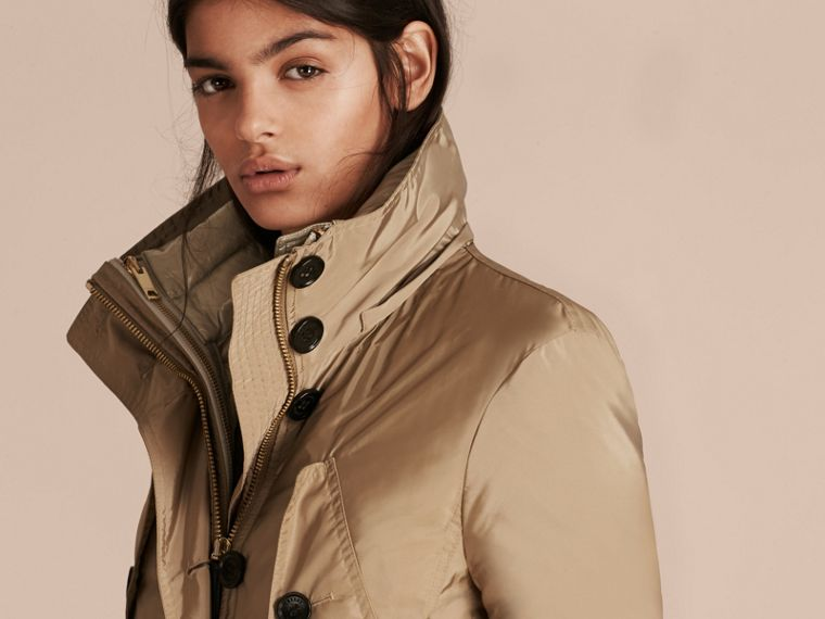 Fur-trimmed Parka with Detachable Down-filled Jacket in Sisal - cell image 4