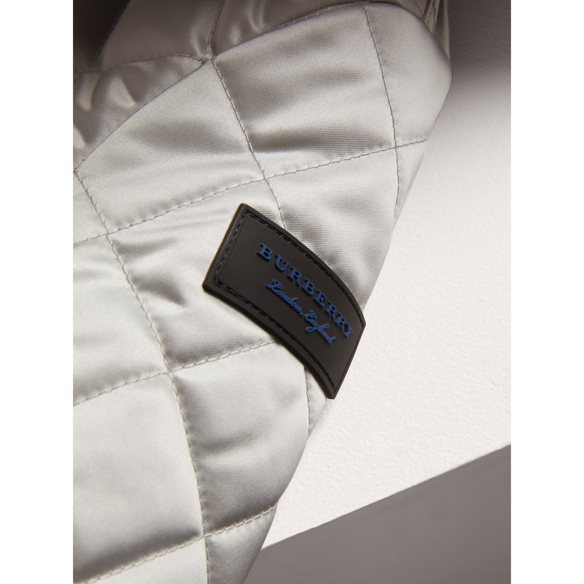 Diamond Quilted Satin Bomber Jacket in Silver | Burberry - gallery image 1