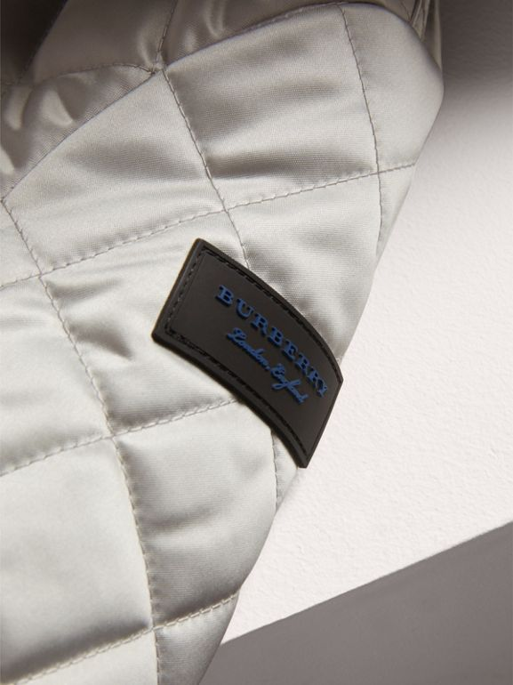 Diamond Quilted Satin Bomber Jacket in Silver | Burberry - cell image 1
