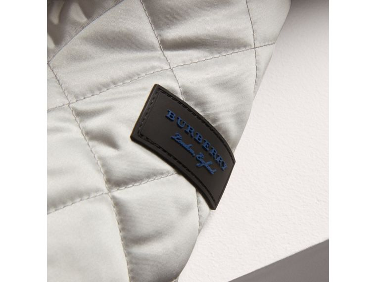 Diamond Quilted Satin Bomber Jacket in Silver | Burberry United Kingdom - cell image 1