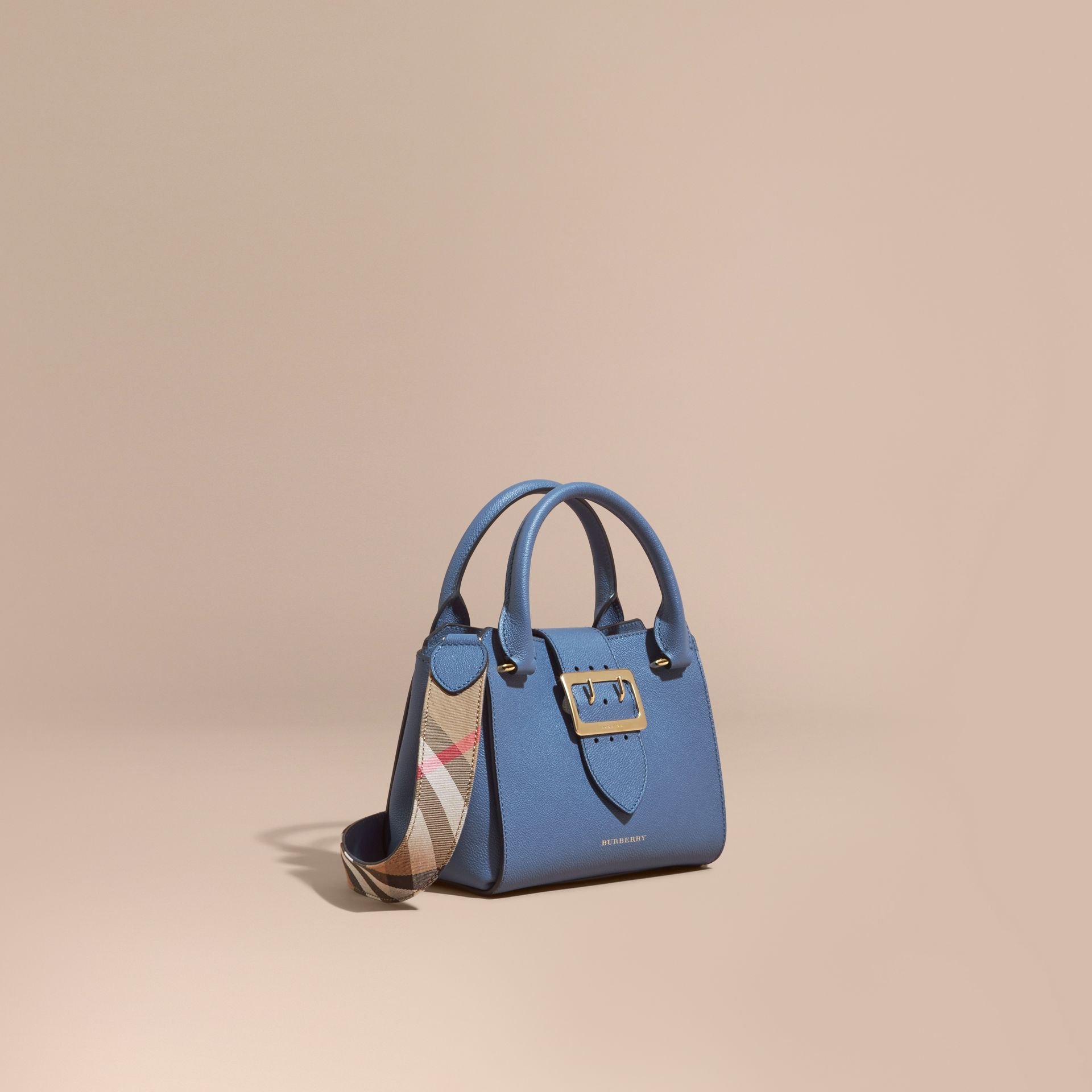 The Small Buckle Tote in Grainy Leather in Steel Blue - gallery image 1