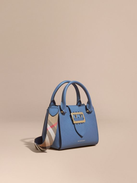 The Small Buckle Tote in Grainy Leather Steel Blue