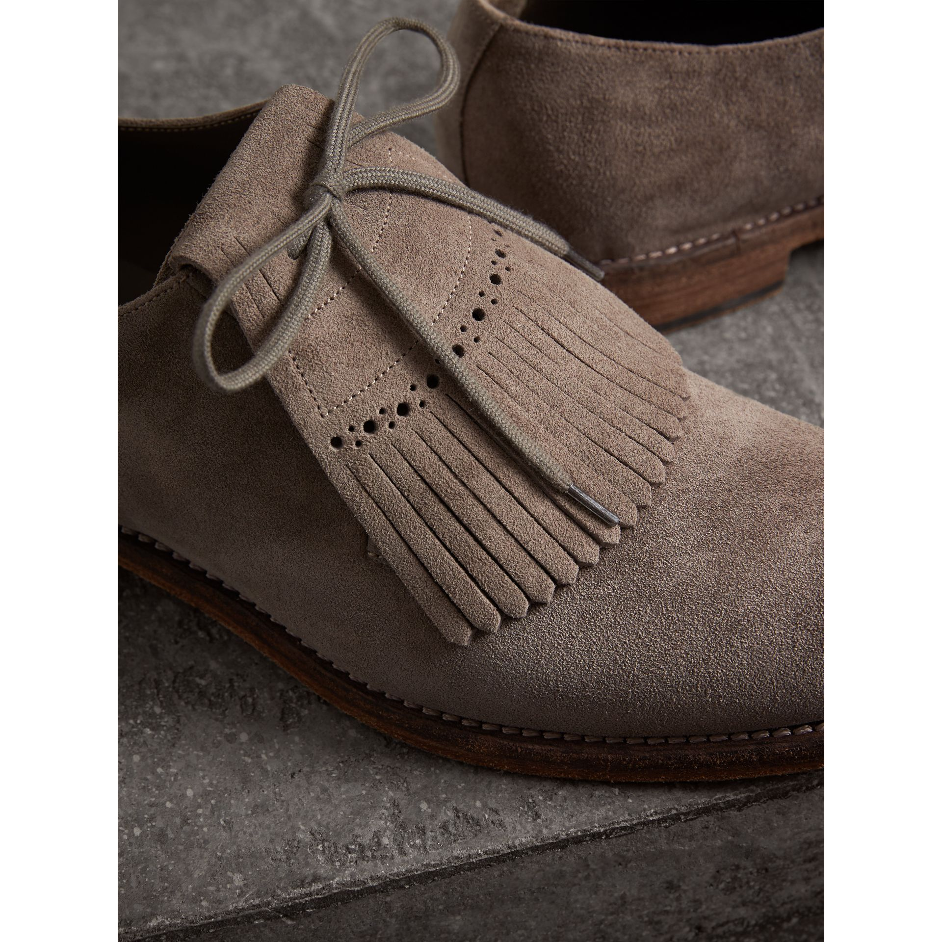 Lace-up Kiltie Fringe Suede Loafers in Steel Grey - Men | Burberry United Kingdom - gallery image 1