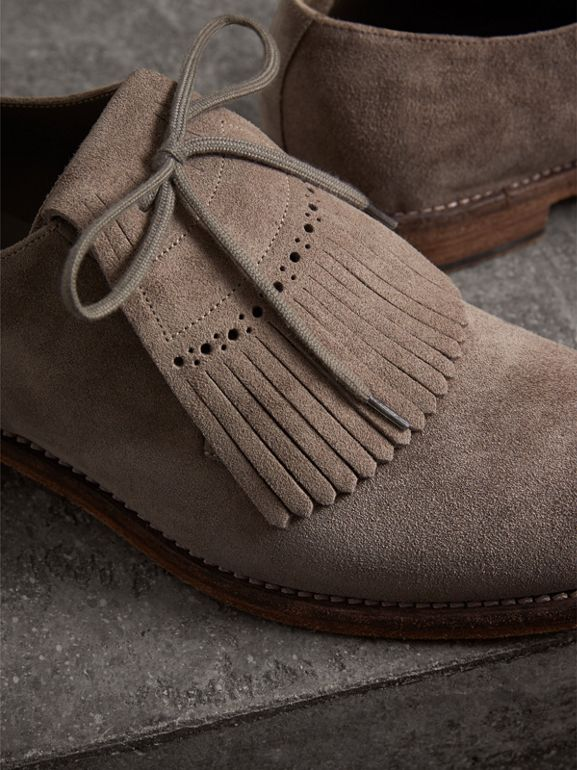 Lace-up Kiltie Fringe Suede Loafers in Steel Grey - Men | Burberry United Kingdom - cell image 1