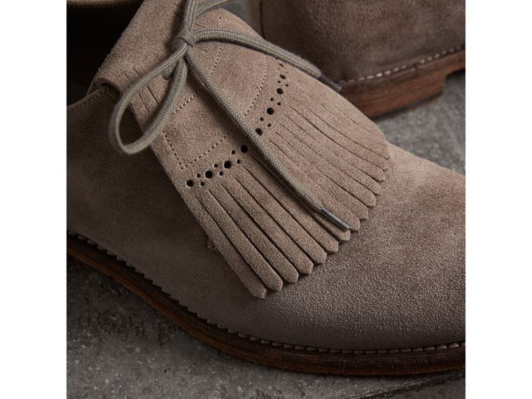 Lace-up Kiltie Fringe Suede Loafers in Steel Grey - Men | Burberry - cell image 1