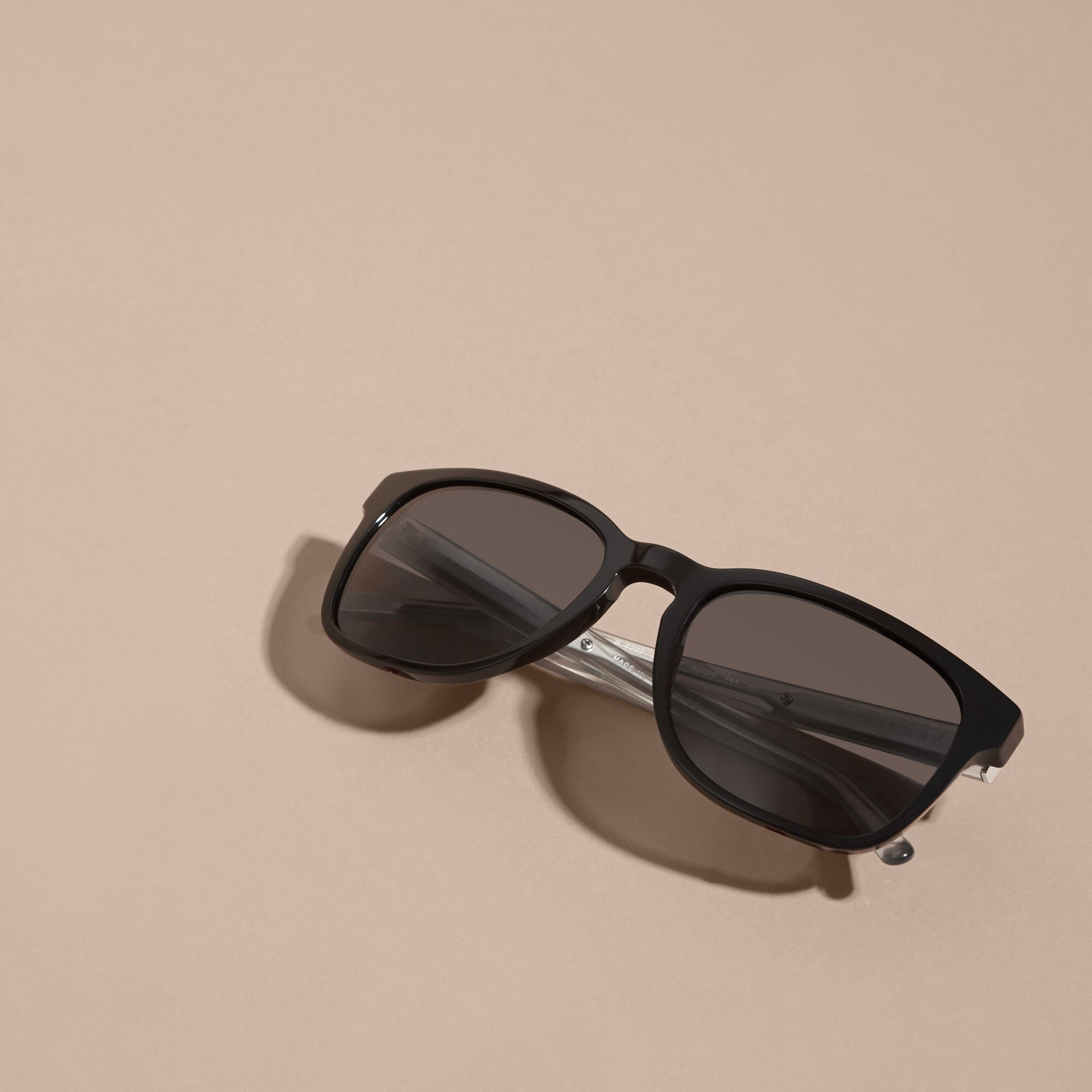 Black Check Detail Square Frame Sunglasses Black - gallery image 5