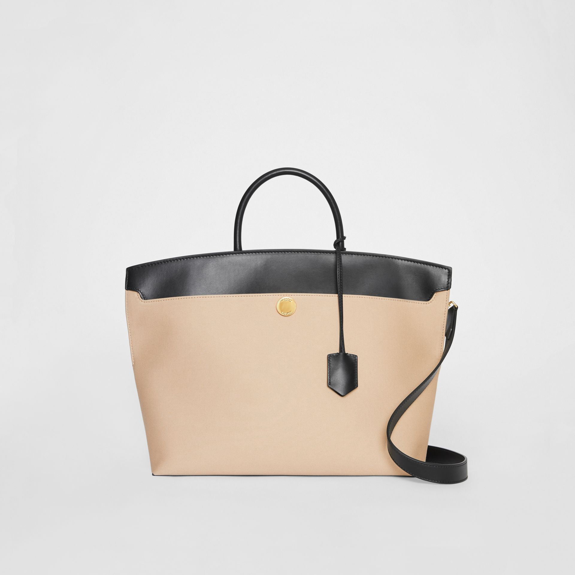 Cotton Canvas and Leather Society Top Handle Bag in Black/honey - Women | Burberry - gallery image 0