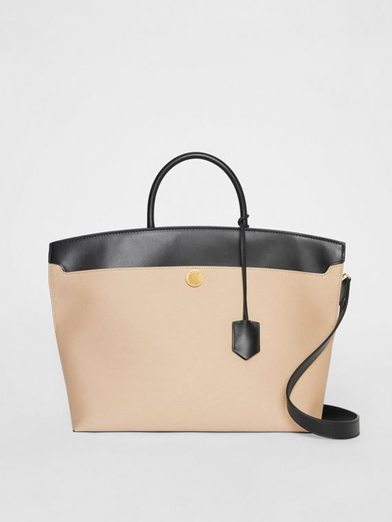 Cotton Canvas and Leather Society Top Handle Bag in Black/honey