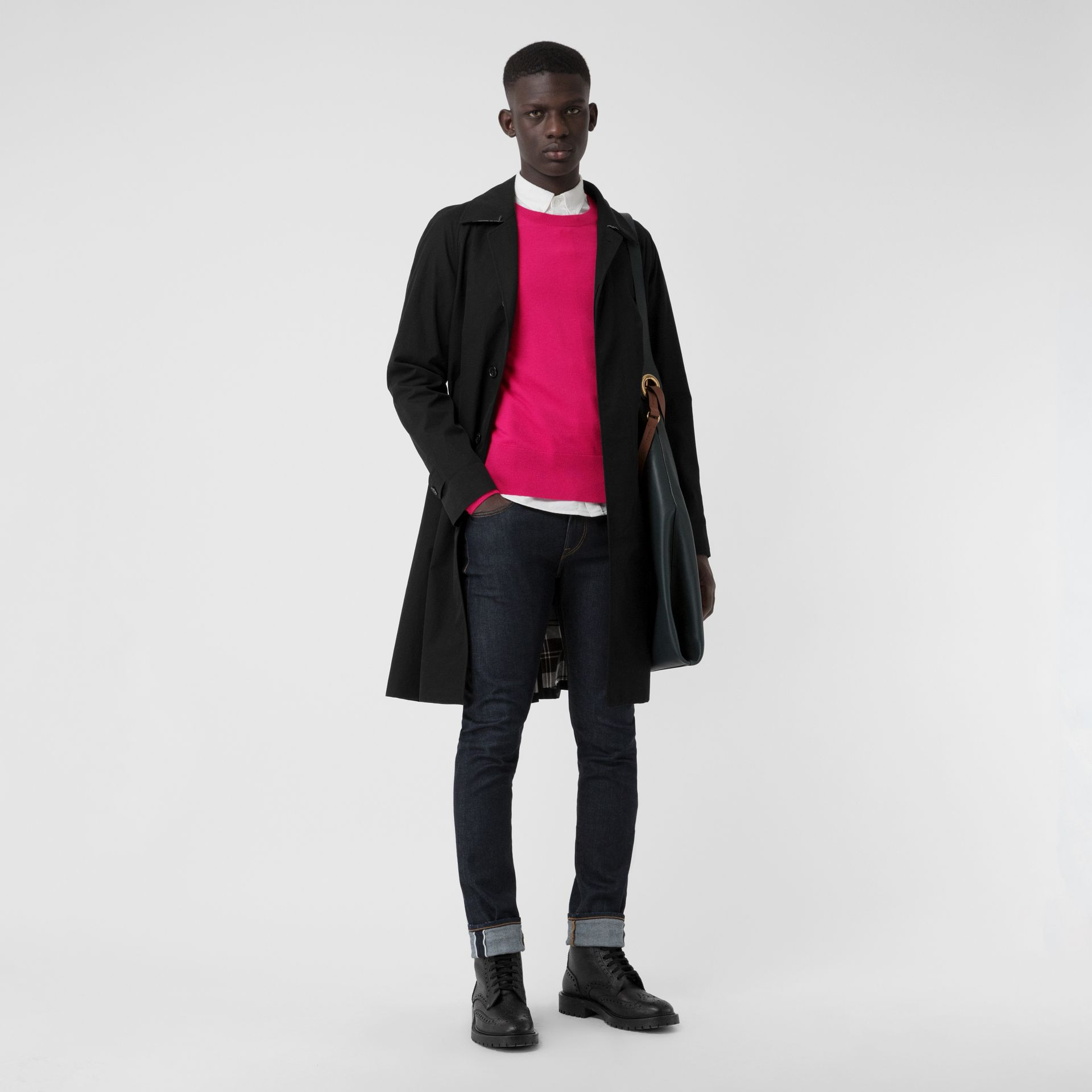 Crew Neck Cashmere Sweater in Bright Pink - Men | Burberry Singapore - gallery image 4
