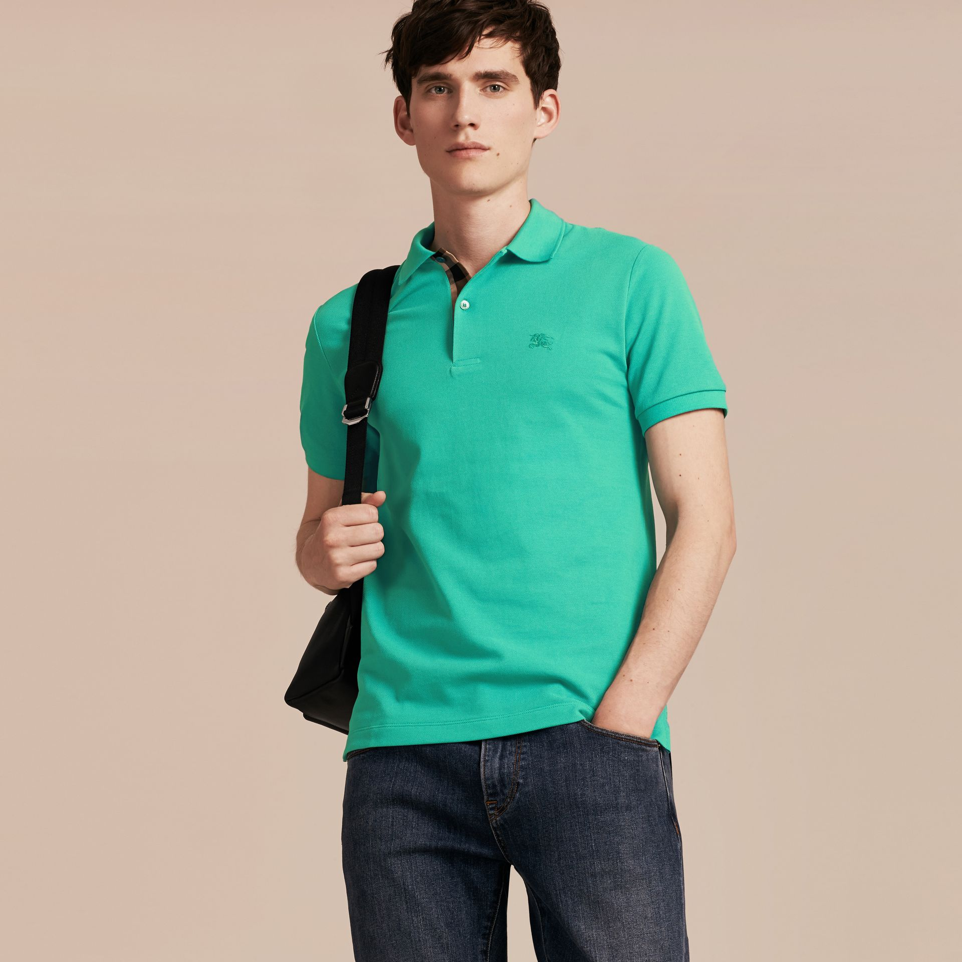 Cyan green Check Placket Cotton Piqué Polo Shirt Cyan Green - gallery image 6