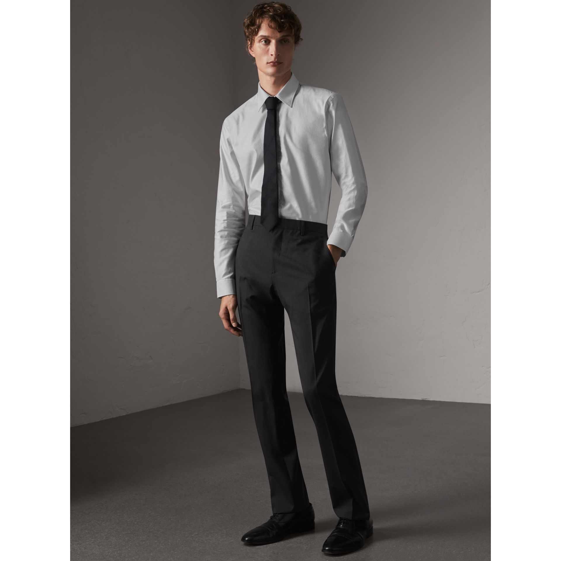 Modern Fit Wool Trousers in Charcoal - Men | Burberry Singapore - gallery image 1