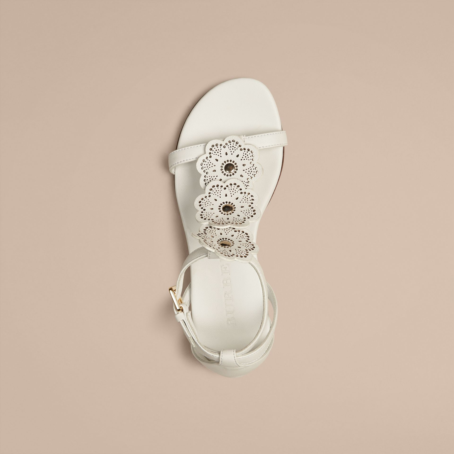 Optic white Floral Detail Leather Sandals - gallery image 2