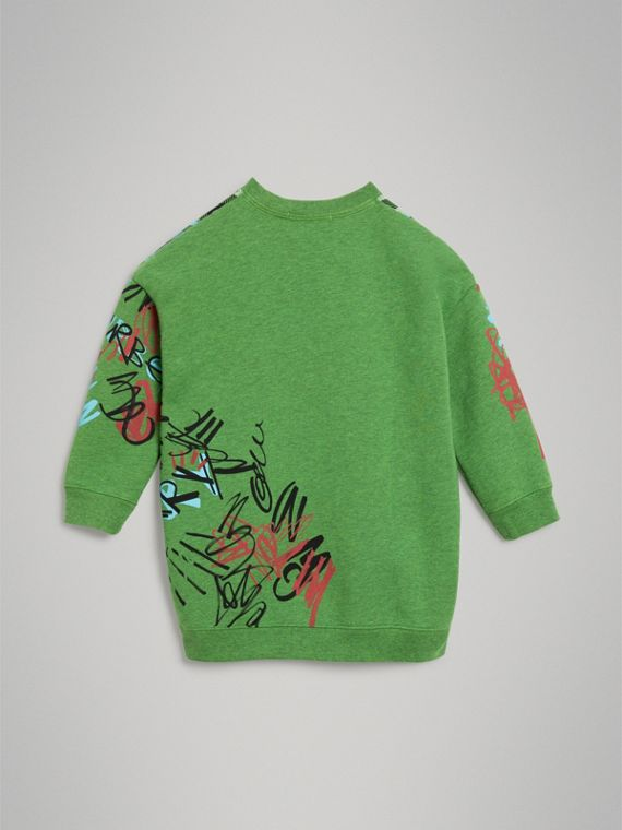 Graffiti Scribble Check Print Cotton Sweatshirt in Lime Green - Girl | Burberry - cell image 3