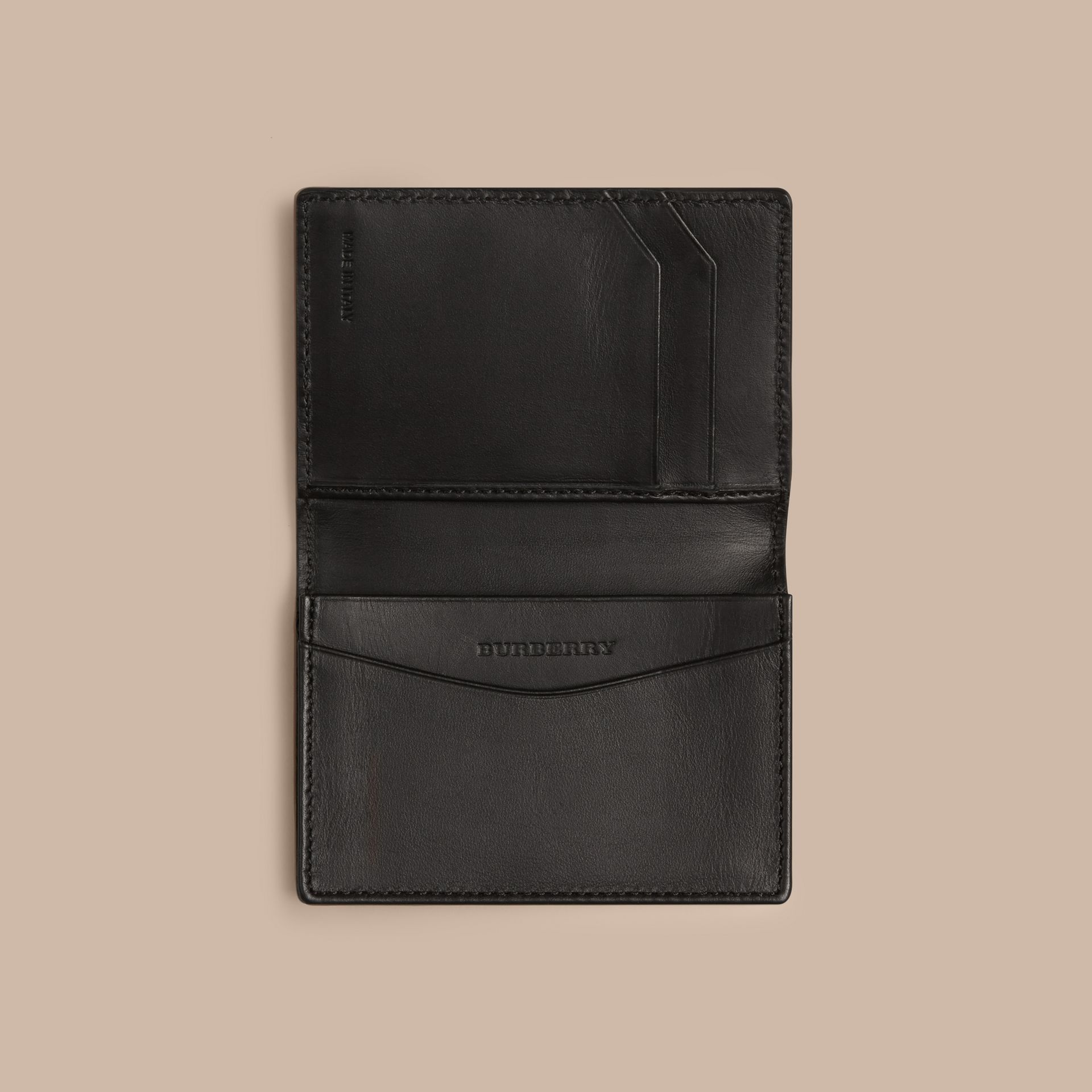 London Leather Folding Card Case in Black | Burberry Singapore - gallery image 4