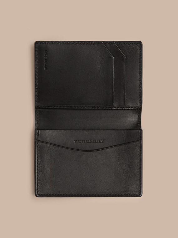 London Leather Folding Card Case in Black | Burberry Singapore - cell image 3