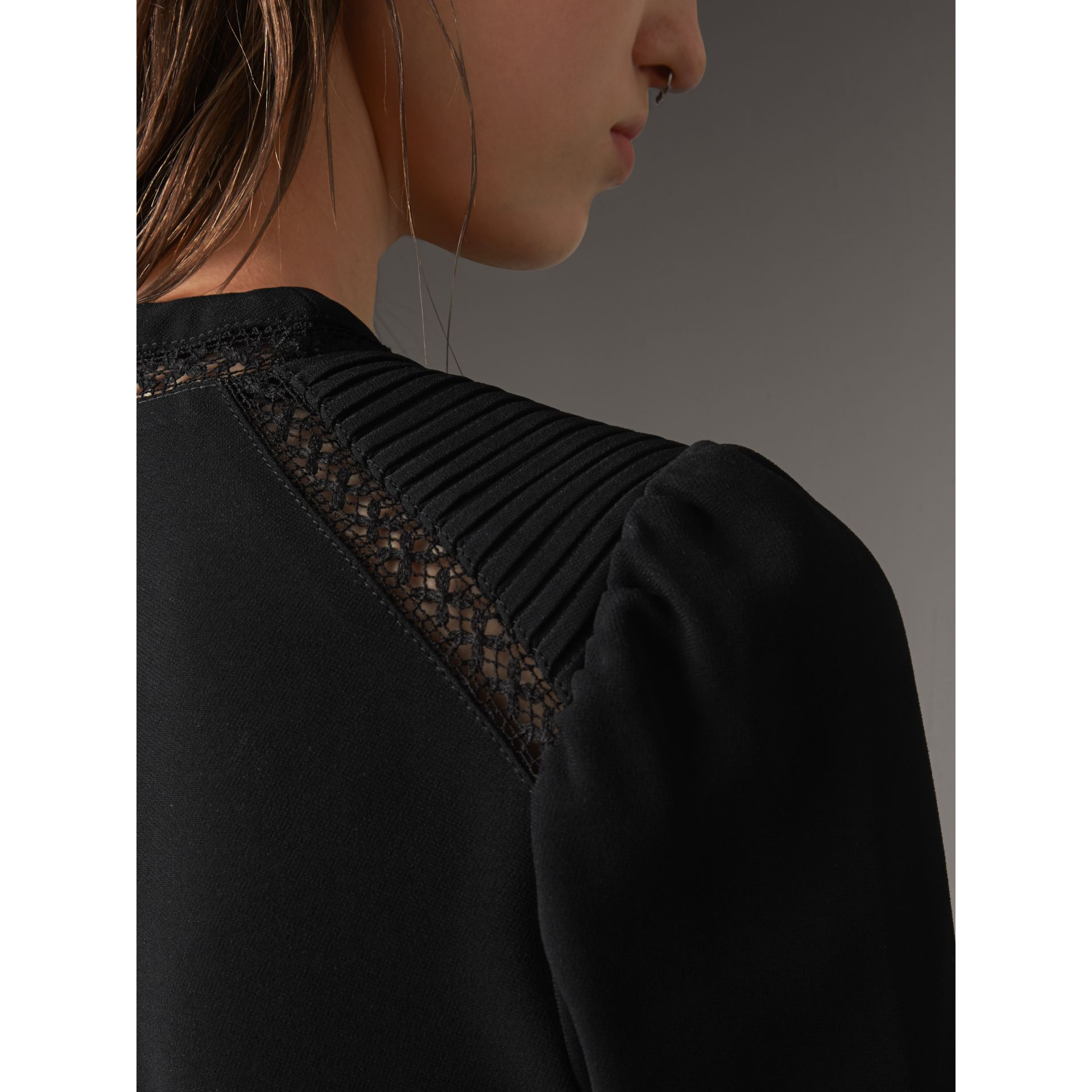 Lace Insert Fitted Dress in Black - Women | Burberry - gallery image 5