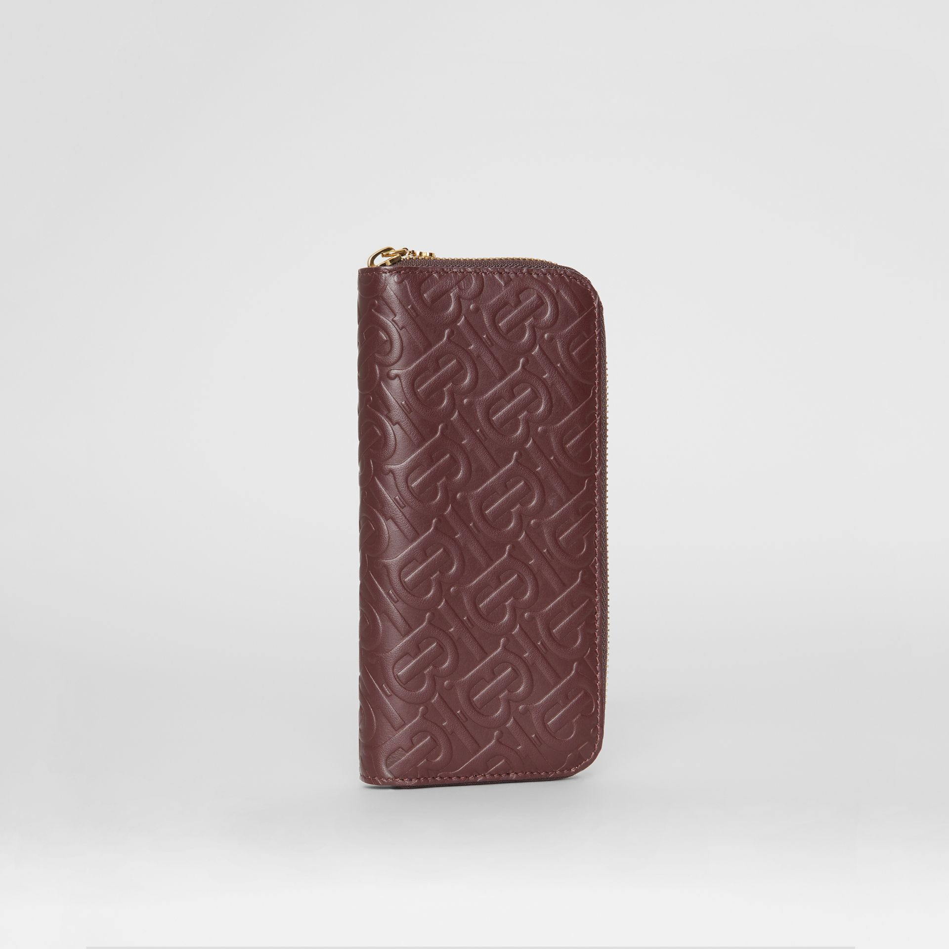 Monogram Leather Ziparound Wallet in Oxblood - Women | Burberry - gallery image 3