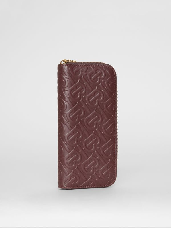 Monogram Leather Ziparound Wallet in Oxblood - Women | Burberry - cell image 3