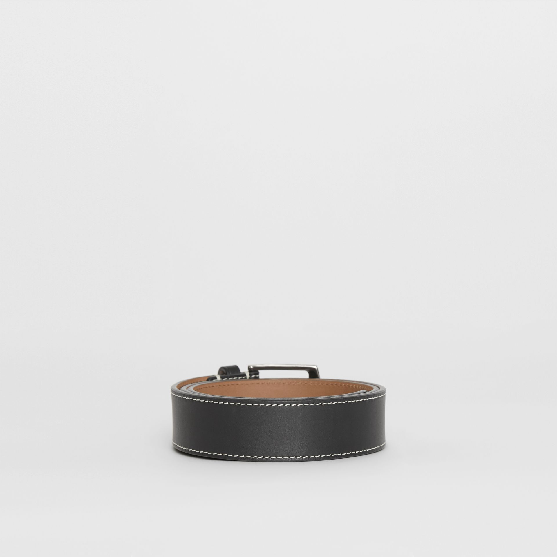 Topstitched Leather Belt in Black - Men | Burberry Australia - gallery image 4