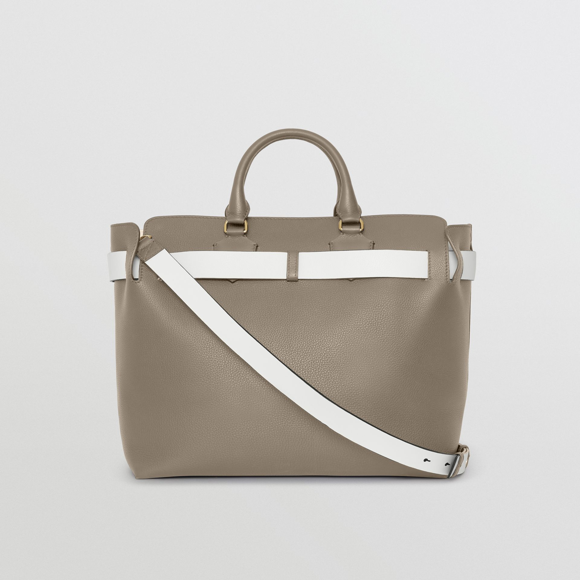 The Large Leather Belt Bag in Mineral Grey | Burberry - gallery image 8