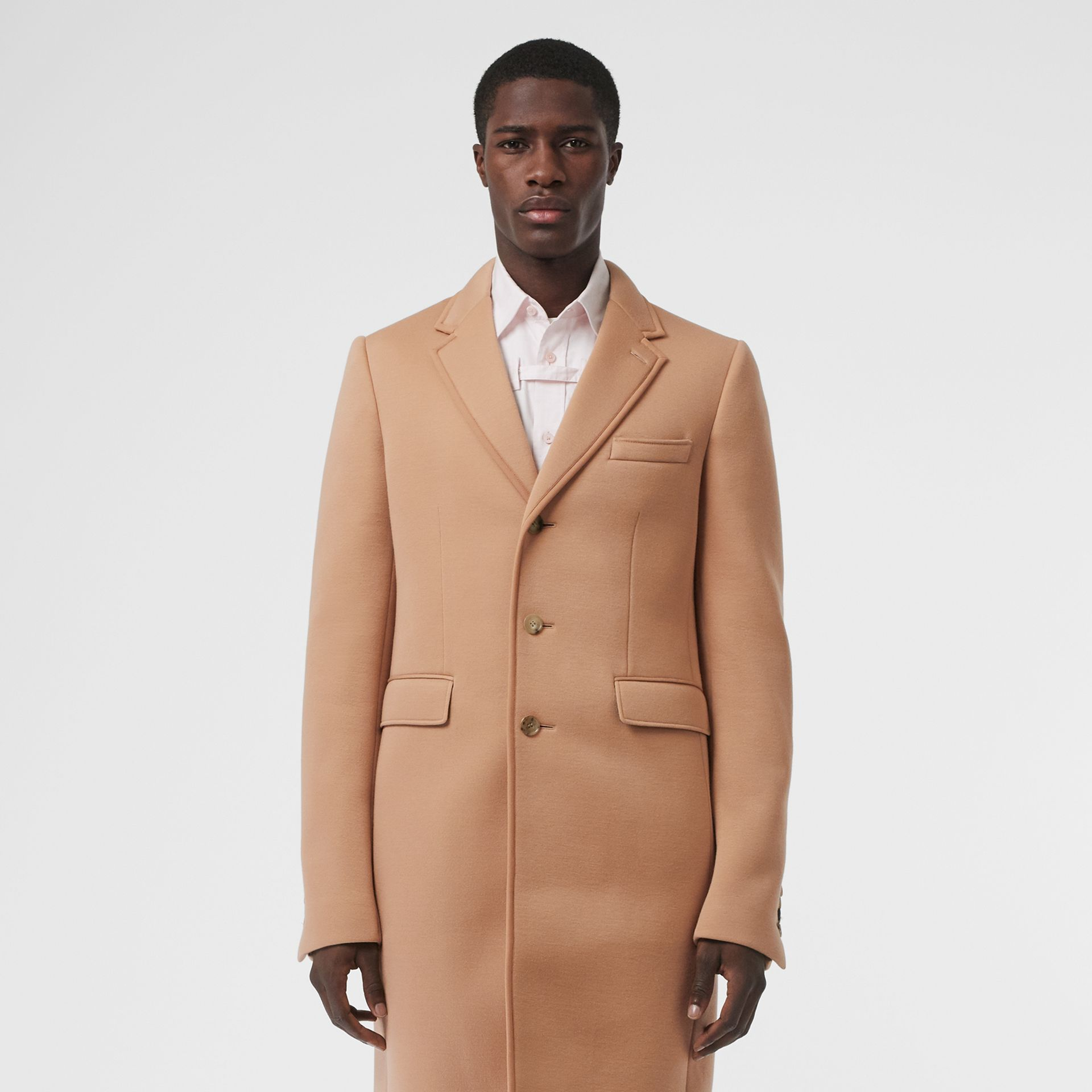 Neoprene Tailored Coat in Beige | Burberry - gallery image 6