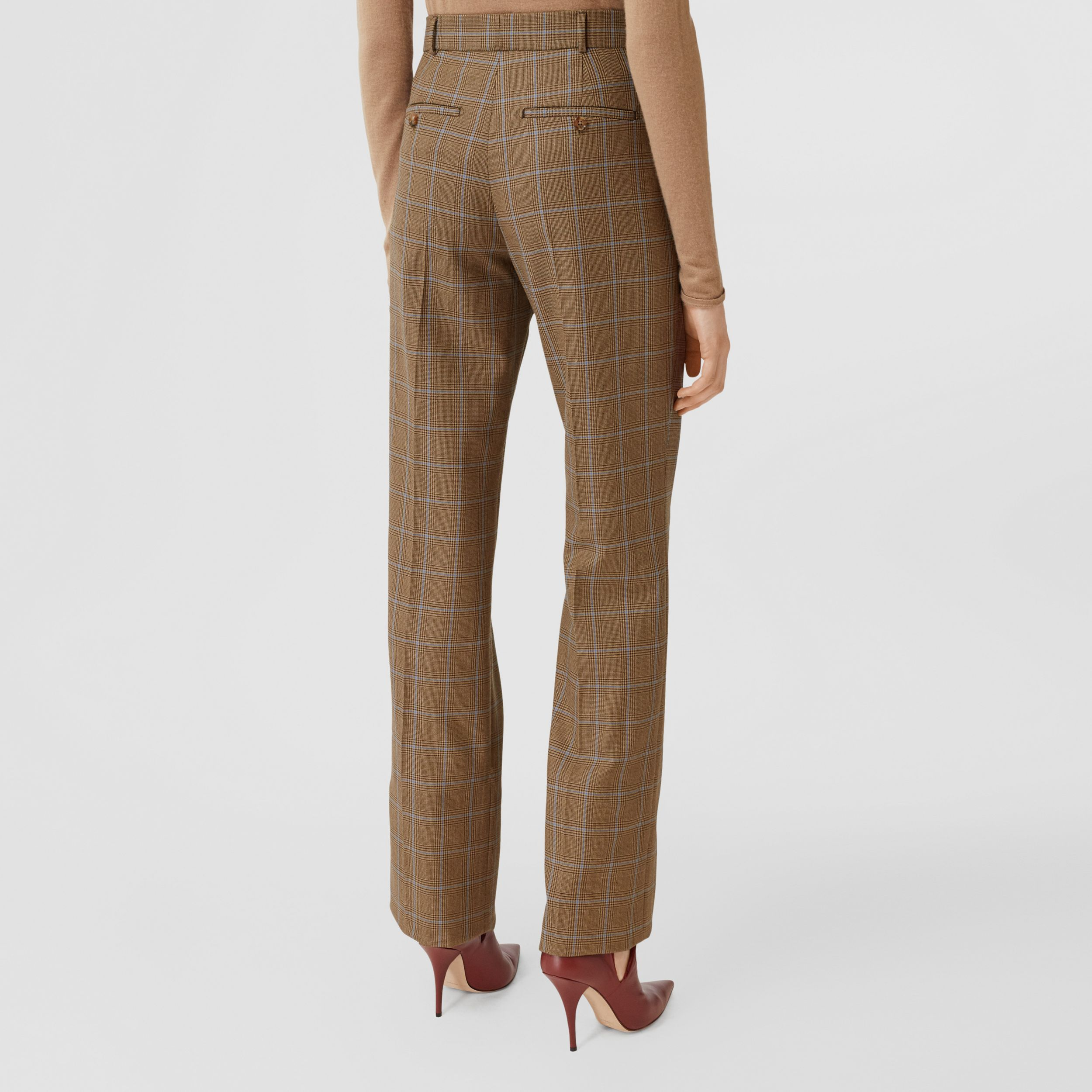 Prince of Wales Check Wool Tailored Trousers in Birch Brown - Women | Burberry - 3