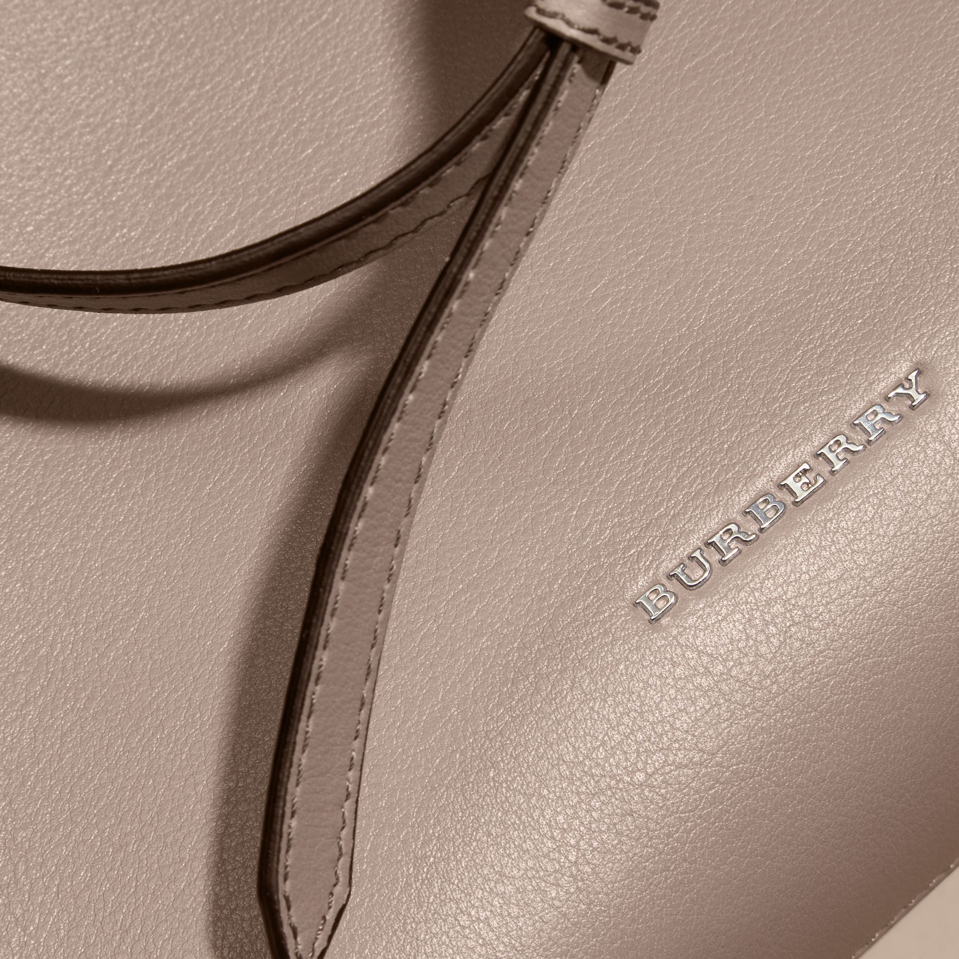 The Medium Banner in Leather with Chain Detail in Thistle Grey - gallery image 6