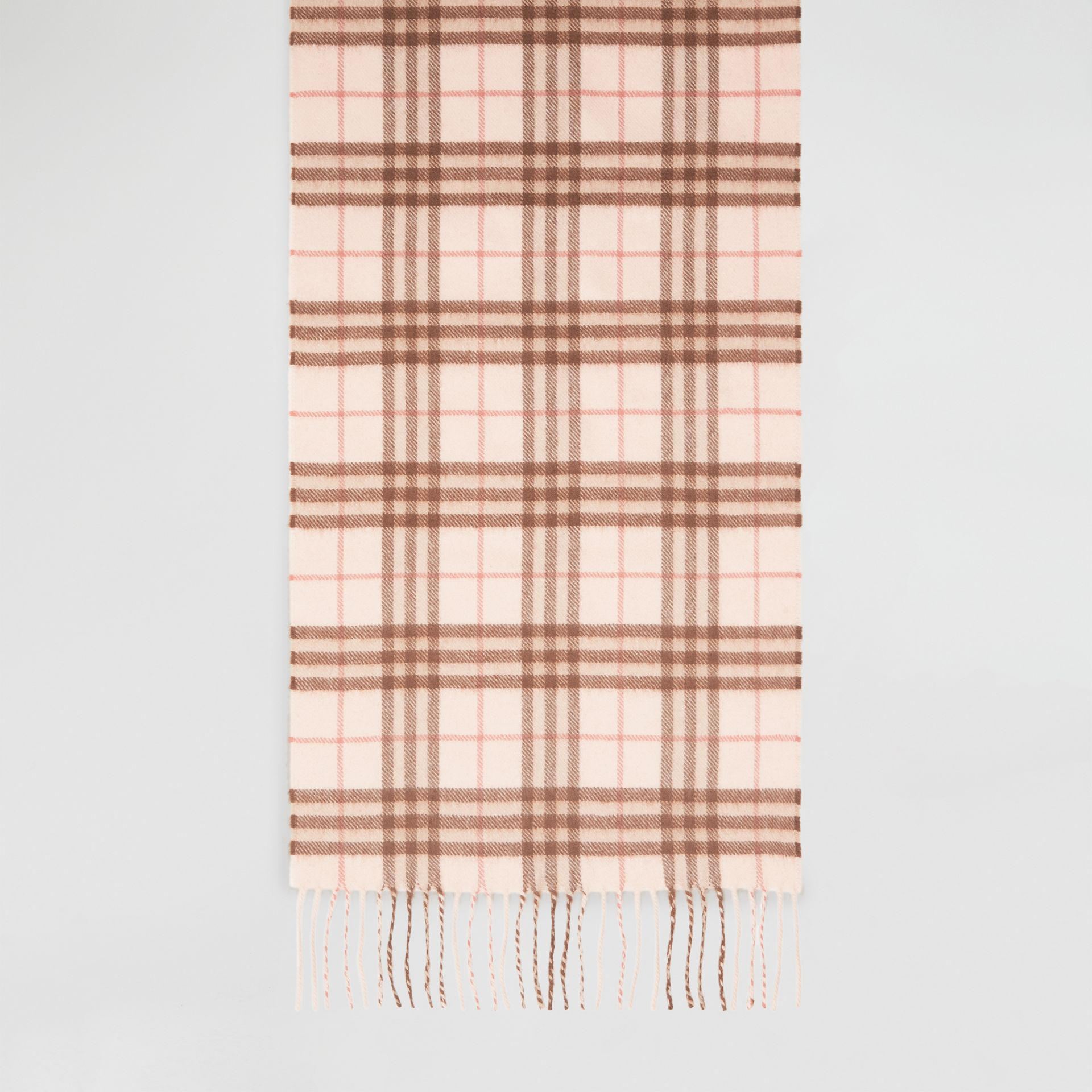 The Classic Vintage Check Cashmere Scarf in Ice Pink | Burberry United Kingdom - gallery image 6